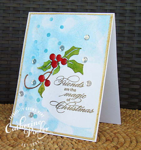 Masked, Stencils and Watercolored Holly Christmas Card