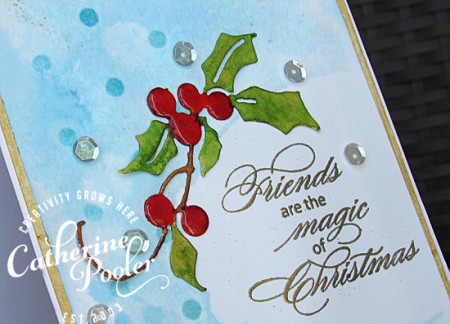 Masked, Stencils and Watercolored Holly Christmas Card 2