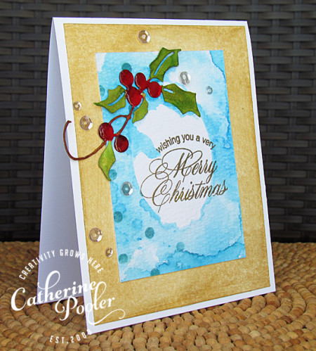 Masked, Stencils and Watercolored Holly Christmas Card 3