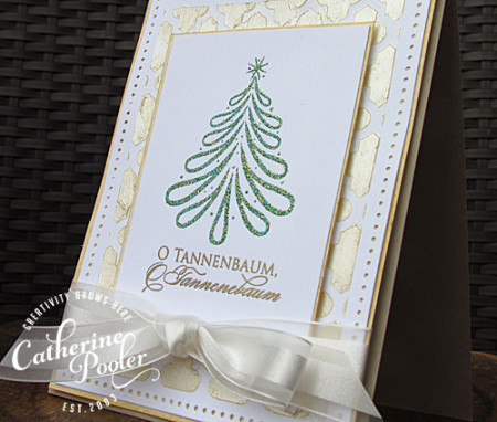 Colored Embossing Paste/Verdigris Christmas Tree Card