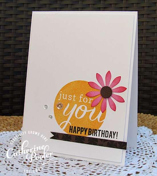 Flower Embellishment Kiss Birthday Card Catherine Pooler Designs