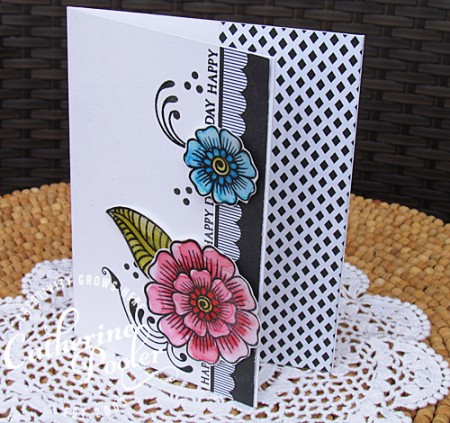 Watercoloring with dye ink pads Flower embellishment