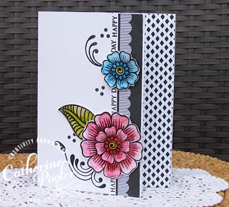Watercoloring with dye ink pads Flower embellishment3