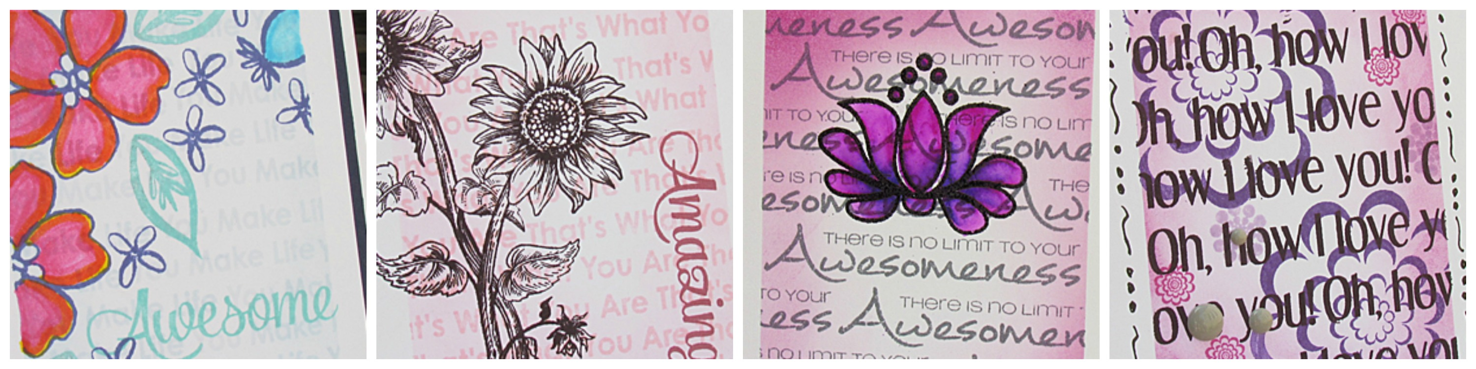 Masking and Background Stamping w Sentiments collage
