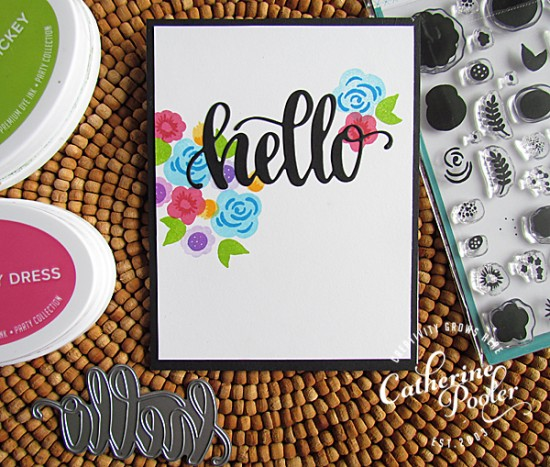 Hello Clean and Simple Floral Card