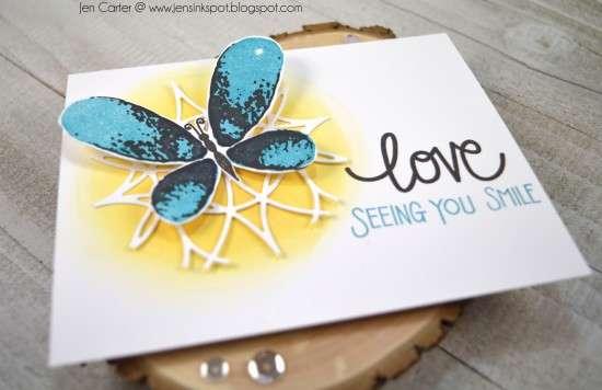 Jen Carter Faithful Flutterings Butterfly Love Grows Stained Glass Closeup