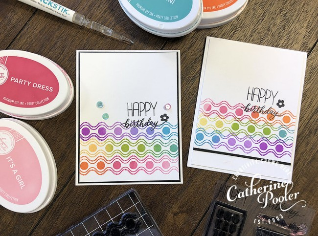 Rainbow Border birthday cards