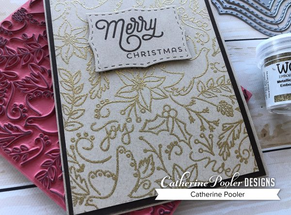 Gold embossing with Love, Doves, and Peace background stamp
