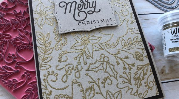 Gold embossing with background stamps